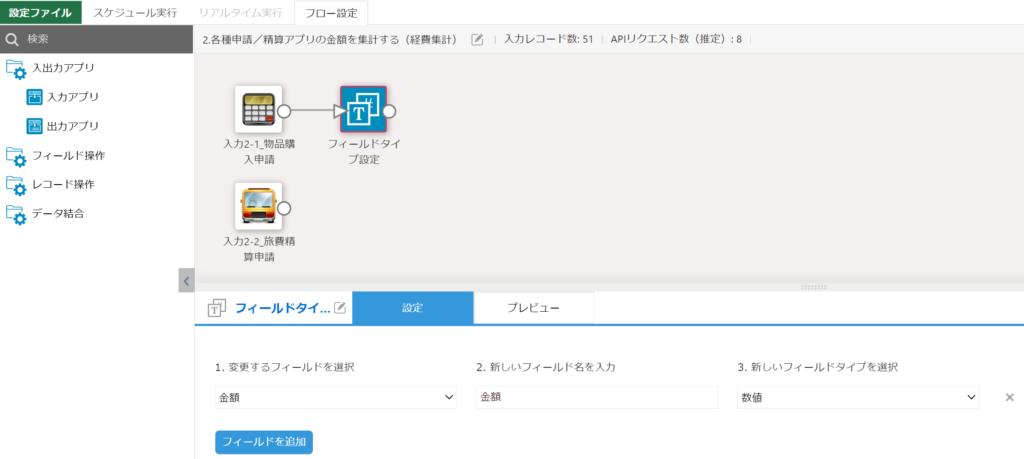 物品購入申請アプリのフィールドタイプを変更する