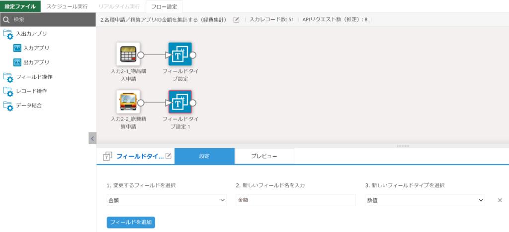 旅費精算申請アプリのフィールドタイプを変更する