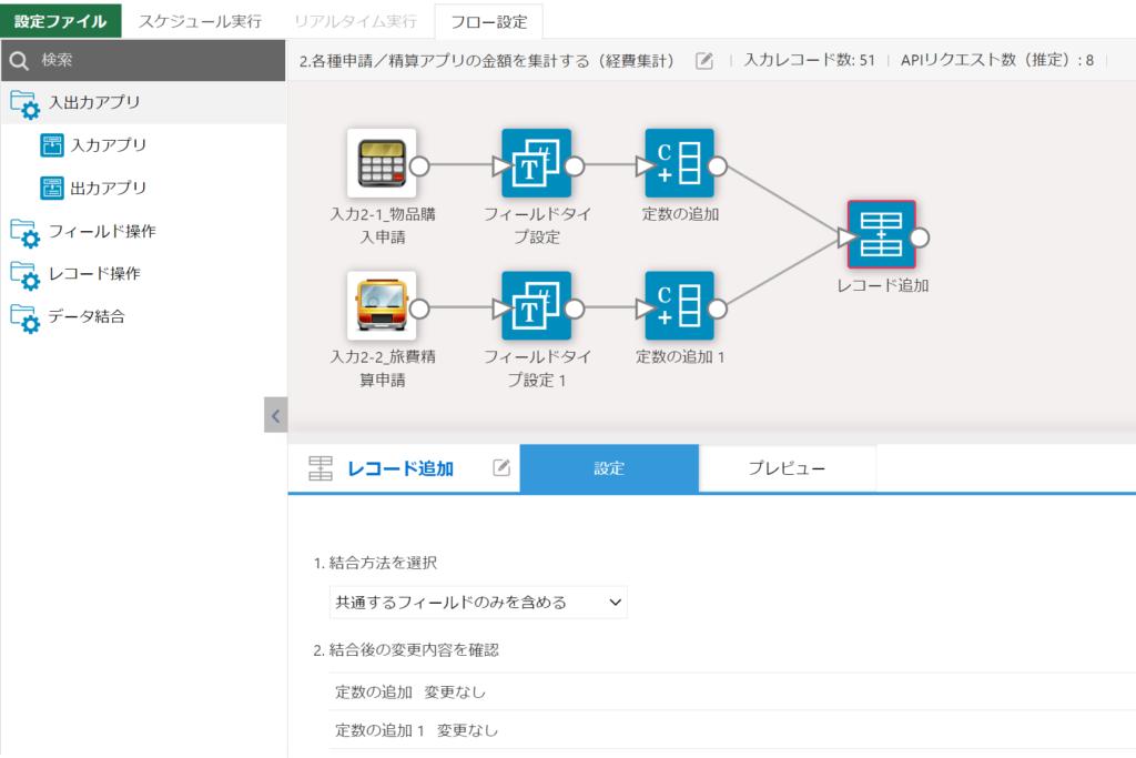 2つのアプリのデータをレコード結合する